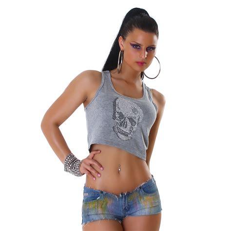 vicyde top bauchfrei totenkopf shirt tanktop  shirt