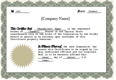 ms word stock certificate template word excel templates