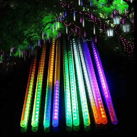 4m white led snowfall icicle lights 50cm drop 10x 30 50cm led meteor shower drop icicle snow fall string light ebay