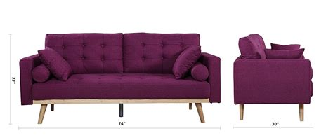 Mid Century Linen Fabric Best Purple Tufted Sofa Review