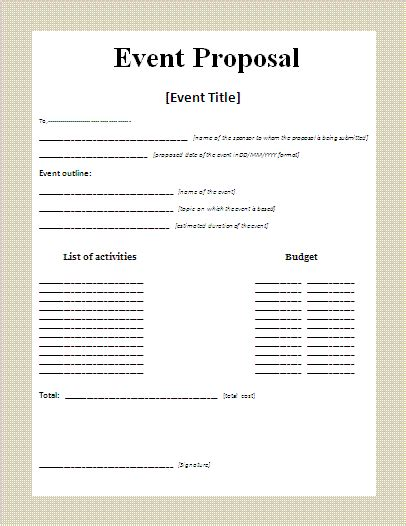 event proposal sample authorizationlettersorg