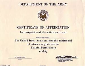 army certificate of completion template - army certificate of appreciati
