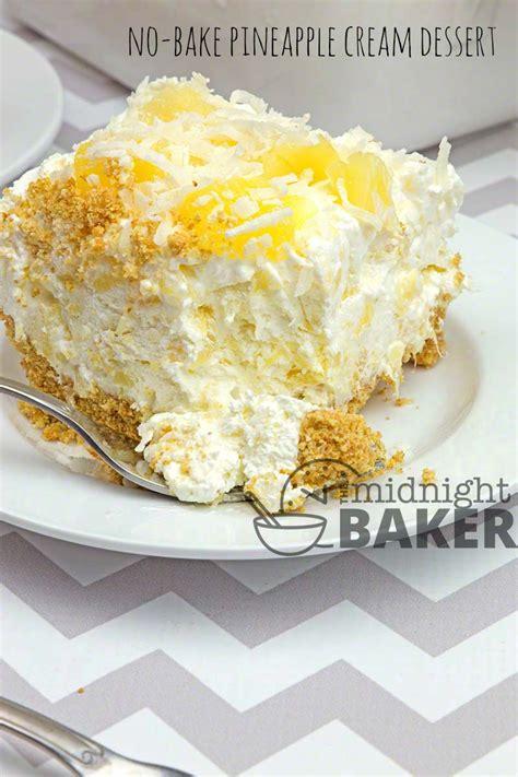 bake pineapple cream dessert  midnight baker