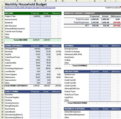 Download A Free Household Budget Worksheet For Excel, Openoffice, Or Google Sheets Compare