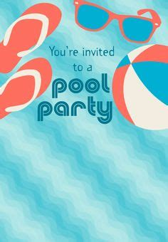 pool party invitations kitty baby love