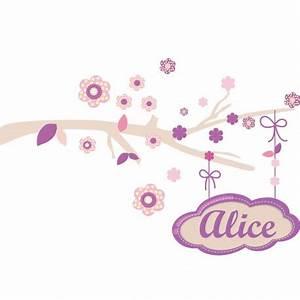 sticker branche fleurie rose personnalisee prenom fille With chambre bébé design avec envoyer des fleurs a londres
