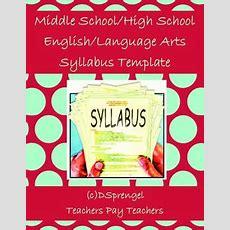 Middle Schoolhigh School Englishlanguage Arts Syllabus Template In Word