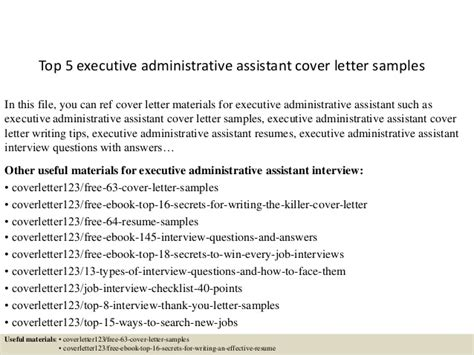 top  executive administrative assistant cover letter samples