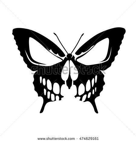 butterfly skull tattoo shutterstock gallery   butterfly stencil skull stencil