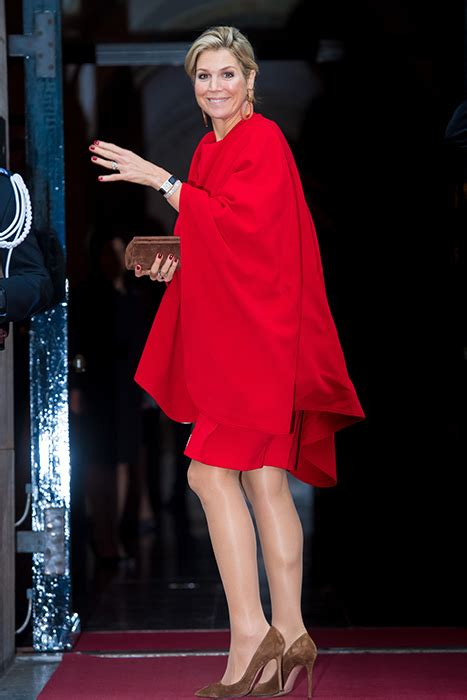Royal Style Queen Maxima Wows Berry Red Dress With