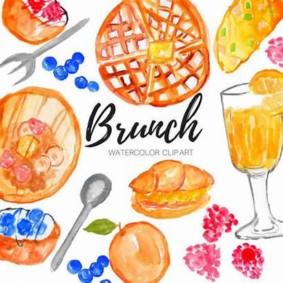 Brunch Watercolor Clip Clipart Mimosa Breakfast Kunst