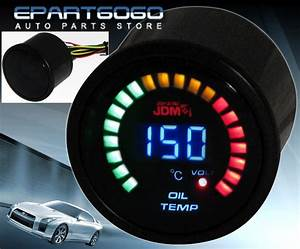 2 U0026quot  52mm Jdm Oil Temperature Volt Blue Digital Led Auto