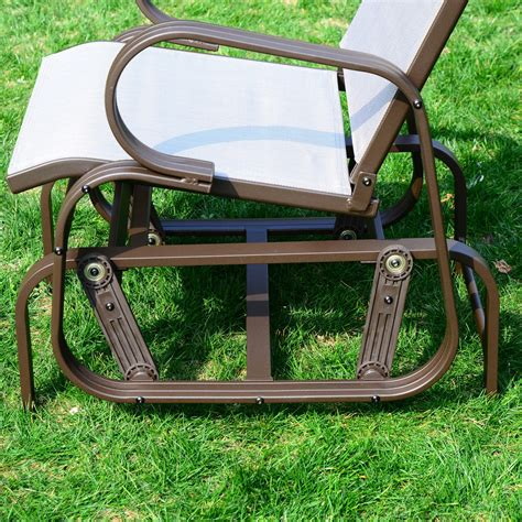 aosom outsunny outdoor sling fabric patio glider chair