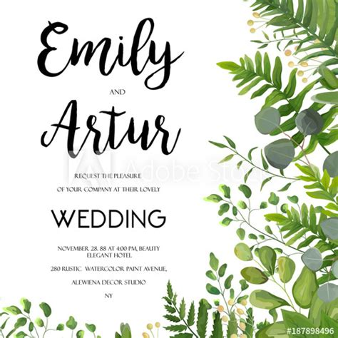 wedding invitation floral invite card design  green