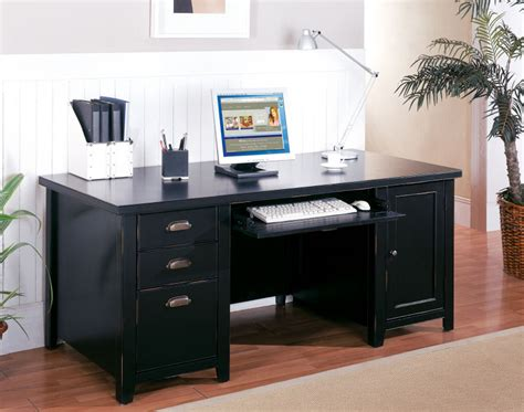 black home office desk tribeca loft black double pedestal computer desk