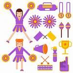 Cheerleader Cheerleading Accesorios Elements Premium Icons Flat