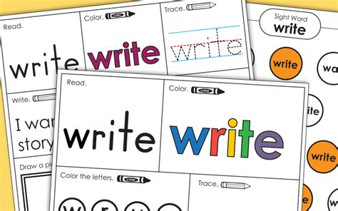 sight word write worksheets