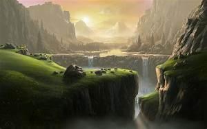 landscape, Waterfall, Fantasy Art, River, Mountain ...