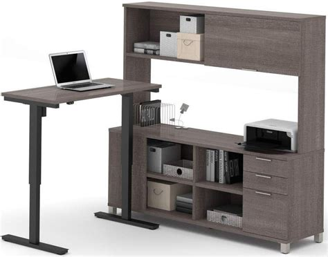 gray desk with hutch pro linea bark gray l desk with hutch with electric height