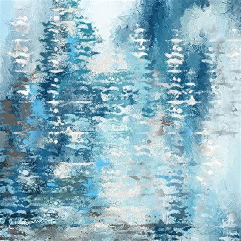 Blue And White Abstract Painting By Lourry Legarde