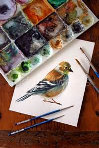 Watercolor Paintings of Goldfinches