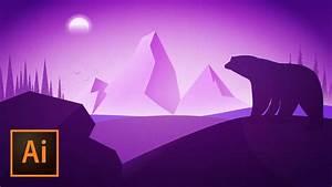 Purple Polar Bear Silhouette Vector Illustration In Adobe