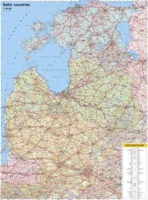 Baltijas valstis. Autoceļu karte. Cietais vāciņš - Karšu ...