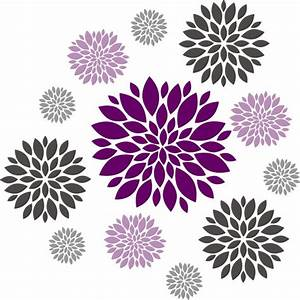 flower wall decal set of 12 flower wall decals dahlia With flower wall decals