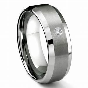 tungsten carbide 8mm satin finish beveled diamond With men wedding ring tungsten
