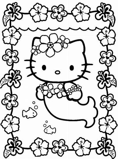 Coloring Kawaii Pages Mermaid Kitty Hello
