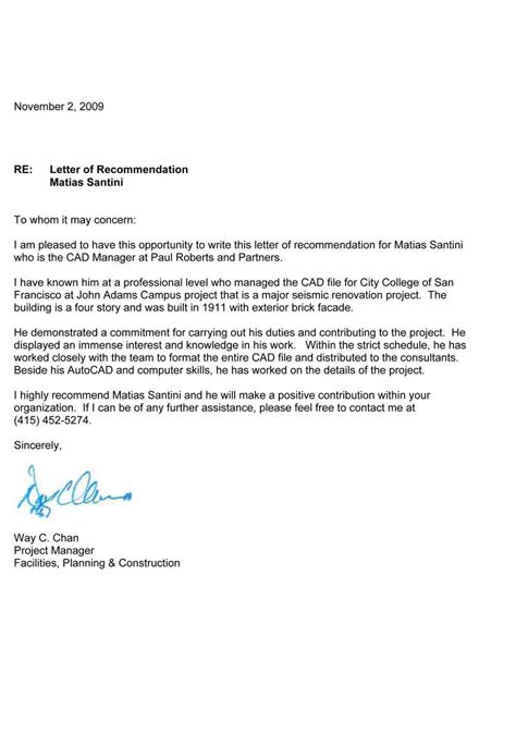 letter of recommendation for a free letter of recommendation format sle template