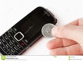 Mobile Phone With Lithuanian Cent Coins Stock Images ...