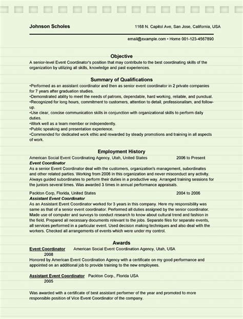 Event Coordinator Resume by Event Coordinator Resume Sle Microsoft Word Doc