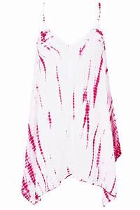 Top Long Tie Dye Rose Foncé Avec Ourlet Mouchoir, taille ...