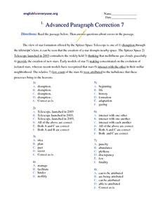 advanced paragraph correction 7 worksheet for 6th 7th grade lesson planet