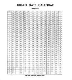 Julian Date Calendar 2016