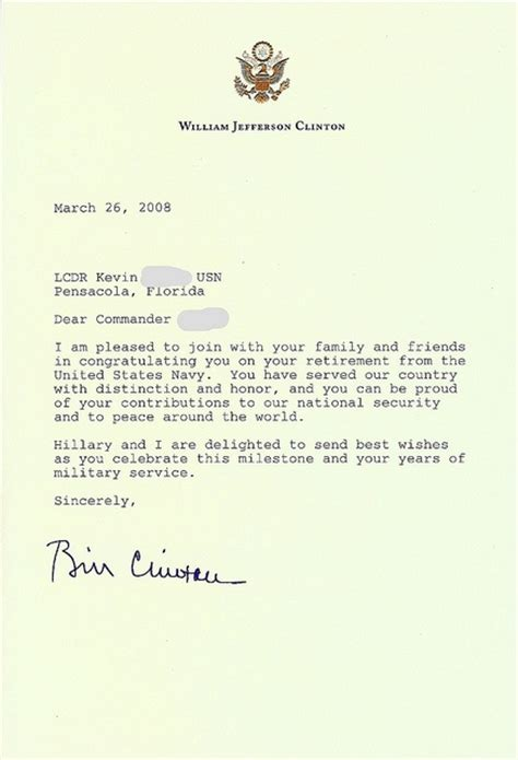personal letter   president bill clinton