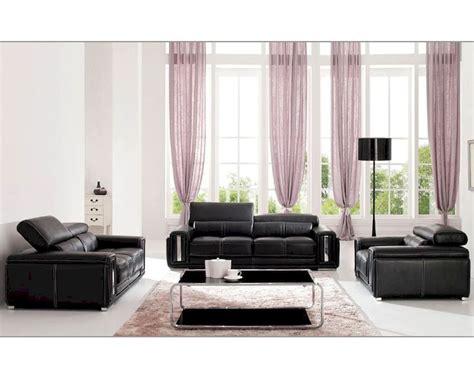 italian leather living room set  black esfset