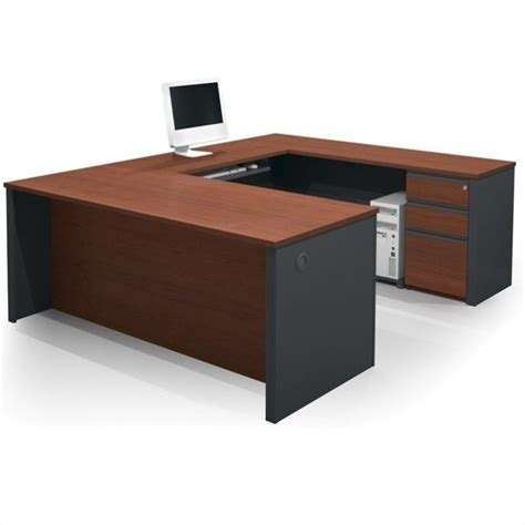 bestar prestige l shaped desk with pedestal bestar prestige 5 u shape desk in bordeaux and