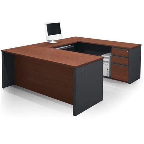 Bestar Prestige L Shaped Desk With Pedestal by Bestar Prestige 5 U Shape Desk In Bordeaux And