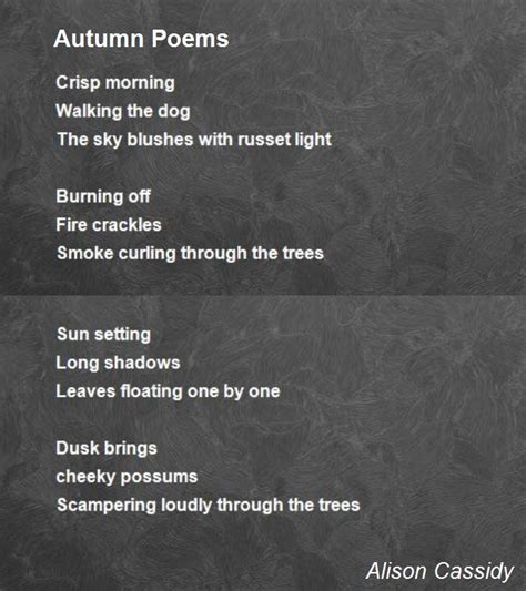 autumn poems poem  alison cassidy poem hunter