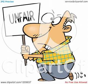 Cartoon of a Picketing Caucasian Man Carrying an Unfair ...