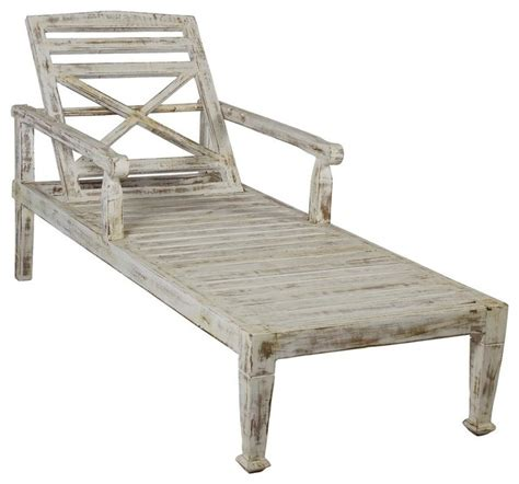 solid teak wood chaise lounge chair faded white