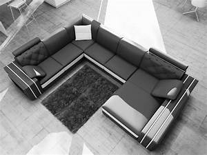 Canapé D Angle 8 Places : canap d 39 angle en cuir italien 8 places bentley noir et blanc mobilier priv ~ Teatrodelosmanantiales.com Idées de Décoration