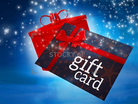 composite image  flying gift card  present stocky