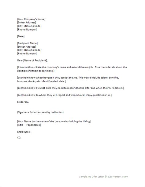 letter  offer template  printable documents