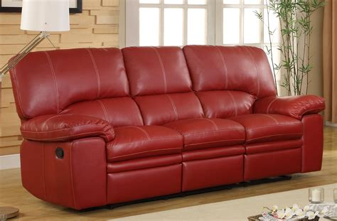 red sectional sofa with recliner homelegance kendrick double recliner sofa red bonded