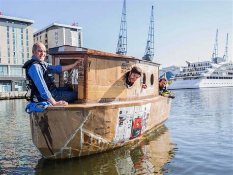 Winning Cardboard Boat Designs by Captain Jp S Log Cardboard Boat Sails On The Thames