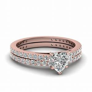 18K Rose Gold White Diamond Wedding Sets Engagement Rings ...