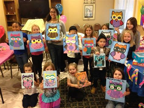 paint party  year  kids art party owl birthday